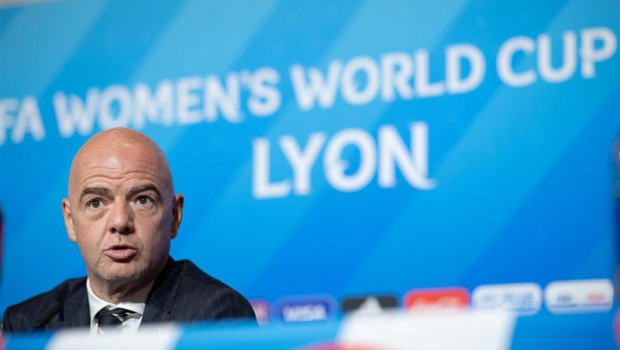 ep 05 july 2019 france lyon fifa president gianni infantino speaks duringpress conference ahead of sundays fifa womens world cup final soccer match betweenand netherlands photo sebastian gollnowdpa